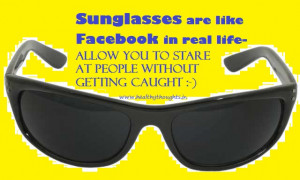 Similarity between sunglasses and Face Book
