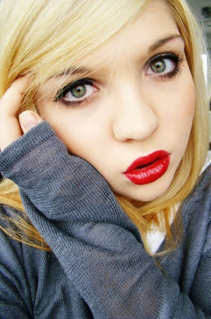 blondehair,blue,girl,greeneyes,redlips,lipstick ...