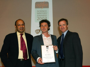 Ben Goldacre receiving award from Pallab Ghosh (BBC--Voice of Big ...