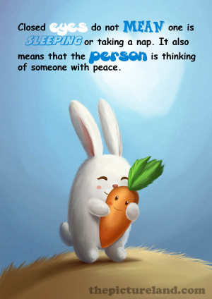 Sayings On Closed Eyes With Cute Cartoon Pictures Of Bunny And Carrot