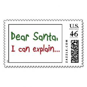 Funny Christmas Santa Quotes Postage Stamps Gifts Red And Green Design