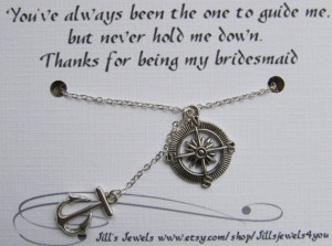 Compass and Anchor Charm Necklace with Friendship Quote Inspirational ...