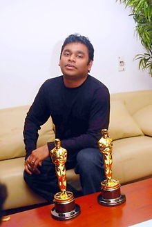 Rahman at his residence in Chennai after receiving two Academy ...