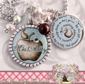 Personalized Teacher Bezel Necklace, Thank You Gift, Teacher ...