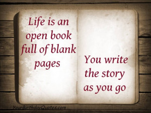 Quotes, about, life, open, book, blank, pages, story