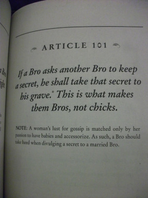 reyvan:The Bro Code: Article 101.* And beyond, if bro finds out that ...