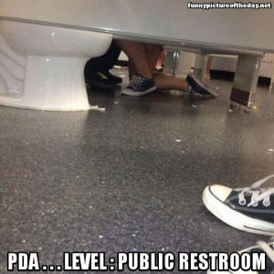 PDA Funny Level Public Restroom Meme Feet On Her Knees Bathroom Stall ...