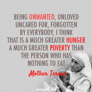 Poverty quotes, meaningful, deep, sayings, mother teresa