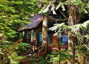 small log cabin in Washington State.
