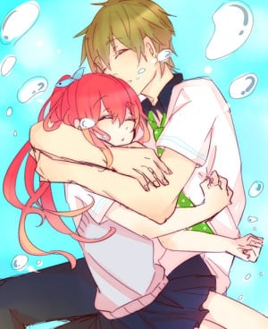 anime, couple, cuddle, cute, gou, kou, makoto, free!
