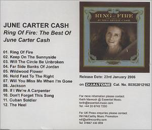June Carter Cash Ring Of Fire: The Best Of June Carter Cash UK Promo ...