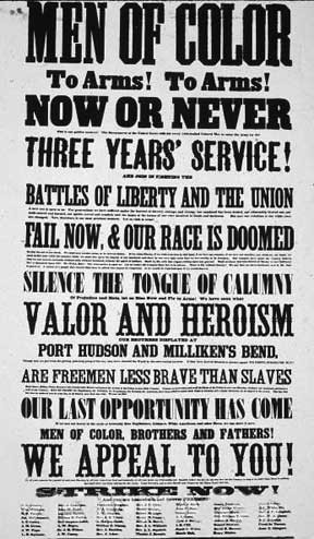 Recruiting postercalling on blacks to jointhe Union Army in the Civil ...