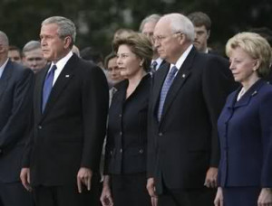 Bush makes corna gesture in 9/11 moment of silence