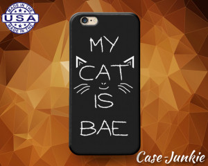My Cat Is Bae Quote Whiskers Funny Cute Tumblr Rubber Custom Case For ...