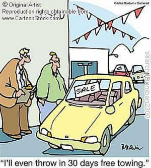 shows a cartoon of an older couple looking at a broken car. The car ...
