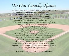 TO OUR BASEBALL COACH PERSONALIZED PRINT POEM END OF THE YEAR ...