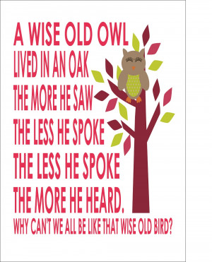 Wise Old Owl Nursery Rhyme - Nursery Baby Boy/Girl A4 - Print Poster ...