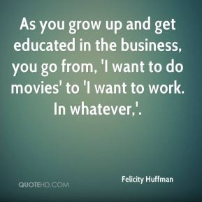 Felicity Huffman - As you grow up and get educated in the business ...