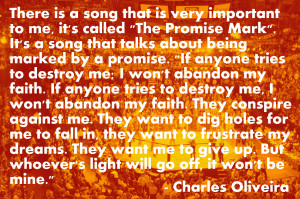 Charles Oliveira on the song The Promise Mark