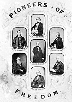 Portraits of abolitionists Charles Sumner, Henry Ward Beecher, Wendell ...