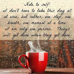 One step at a time. One breath at a time. One moment at a time. It's ...