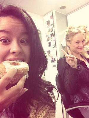 Cierra Ramirez and Teri Polo on the set of The Fosters! #Cronuttime