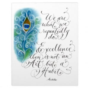 Inspirational Aristotle quote Excellence pastels Photo Plaques