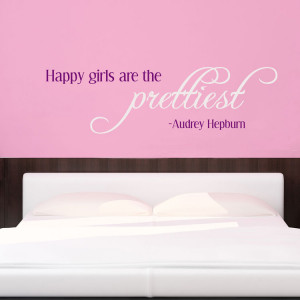 Happy Girls are the Prettiest - Audrey Hepburn - Wall Decals