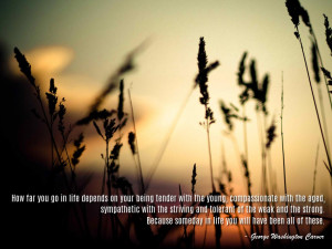 How far you go in life depends on your being tender with the young ...