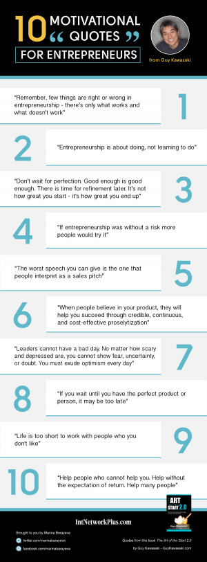 10 Motivational Quotes for Entrepreneurs from Guy Kawasaki Infographic