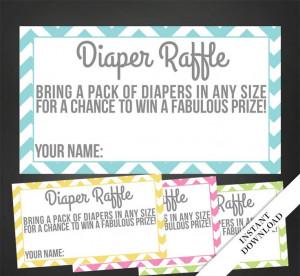 Diaper Raffle Tickets Printable Chevron by prettyprintedpaper, $6.00