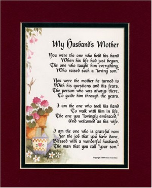 Gift For A Mother-in-law. Touching 8×10 Poem, Double-matted in ...