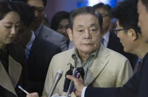 Samsung Electronics Chairman Lee Kun-hee listens to a question from a ...