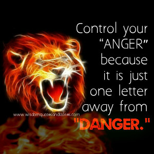 Control your anger , it is one letter away from danger - Wisdom Quotes ...