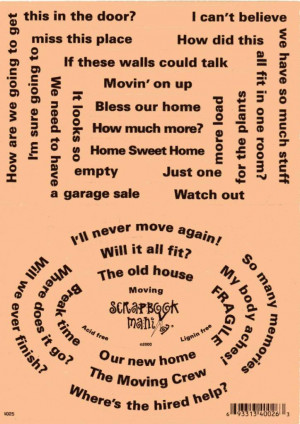 Details about Scrapbook Mania Stickers - MOVING House Words Sayings