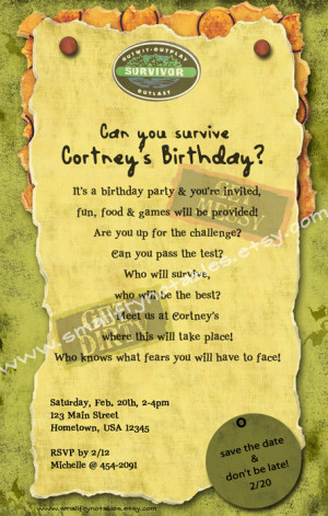 Survivor Personalized Theme Party Printable Invitation by ...