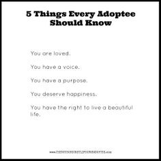 Things Every Adoptee Should Know | Repinned by Melissa K. Nicholson ...