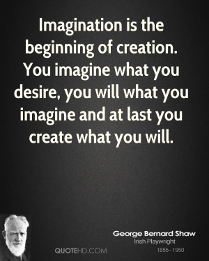 Imagination is the beginning of creation. You imagine what you desire ...