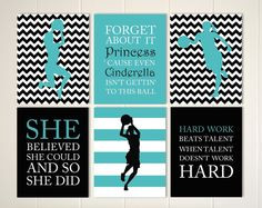 Inspirational quote art, girls quotes wall art, basketball girl ...