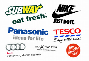 Montage of advertising slogans