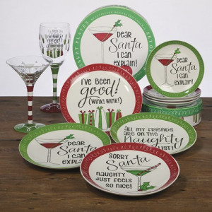 Certified International Christmas sayings dessert plate