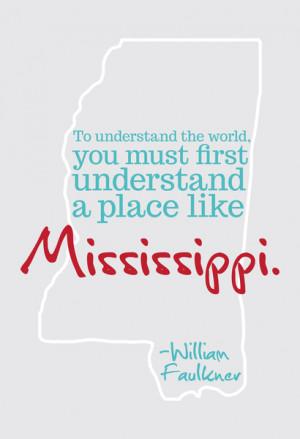 William Faulkner Mississippi Quote in Grey Canvas Print