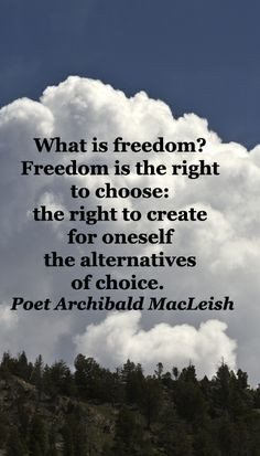 What is freedom? Freedom is the right to choose: the right to create ...