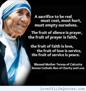 Mother Teresa of Calcutta quote on sacrifice