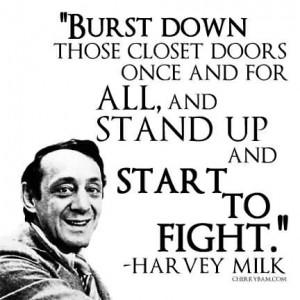 Popular Celebrity Quote by Harvey Milk~ Burst down those closet doors ...