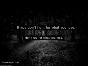 love it if you dont fight for what you love