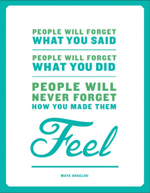 People will forget what you said. People will forget what you did ...