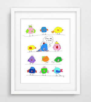 bird doodle funny illustration funny quote wall art print poster wall ...