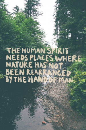 needs places where nature has not been rearranged by the hand of man ...