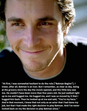Christian Bale quote from Christopher Nolan's Facebook page (sorry if ...